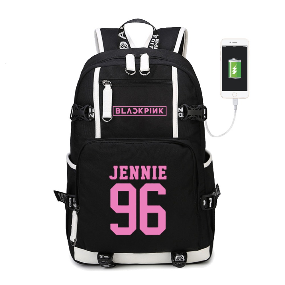 WISHOT KPOP Korean Blackpink Jennie Lis Backpack Shoulder travel School Bag for teenagers Casual USB Charging