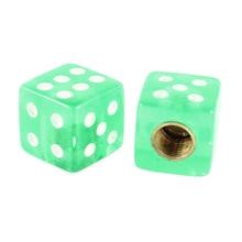 TOYL 4 Шт. Зеленый Куб Dice Shaped Куб Шин Стержня Клапана Крышки для Автомобиля