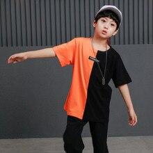 ילדי היפ הופ בגדי בגדי צבע בלוק מקרית T חולצות חולצות עבור בנות בני ג אז ריקוד תלבושות סלוניים ריקוד Streetwear