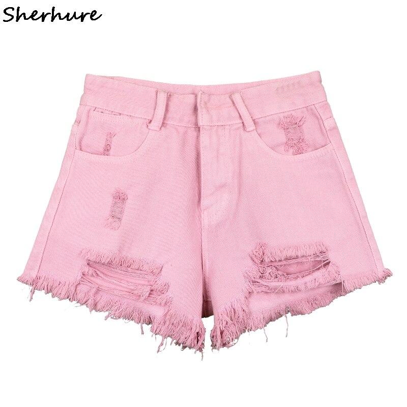 2018 New Boho Summer Harajuku Denim Shorts Women Sweet Pink High Waist Short Jeans Sexy Hole Tassel Women Hot Short Feminino
