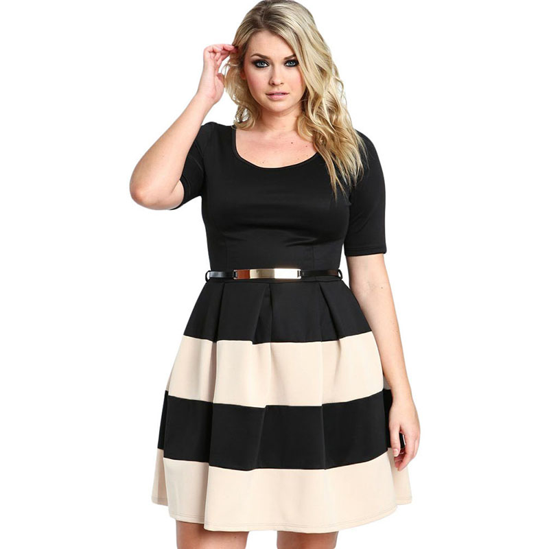 Wonder beauty Plus Size Womens Elegant Vintage Summer Short Sleeve Striped Tunic Work Office Casual Party Ball Gown Skater Dress