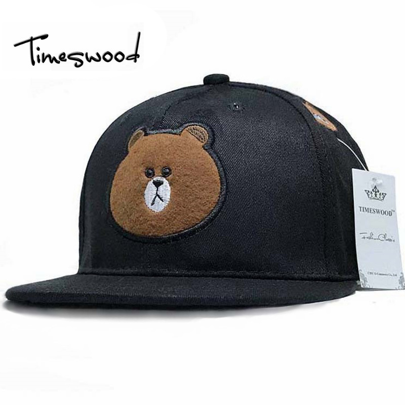 New Embroidery Bear Lovely Winter  Baseball Cap Hip Hop Men Women Unisex Snap Back Hip-hop Hat Caps Gorras Planas Hombres Mujer aetrue winter hats skullies beanies hat winter beanies for men women wool scarf caps balaclava mask gorras bonnet knitted hat