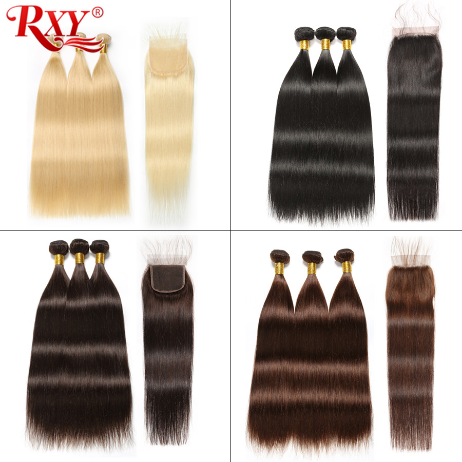 Ombre Brazilian Straight Hair Bundles With Closure RXY Human Hair Ombre Bundles With Closure 1b 99j