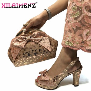 Image 1 - Special Design African Shoes With Matching Bags Set African Womens Party Shoes and Bag Sets Peach Color Women Sandals And Bag