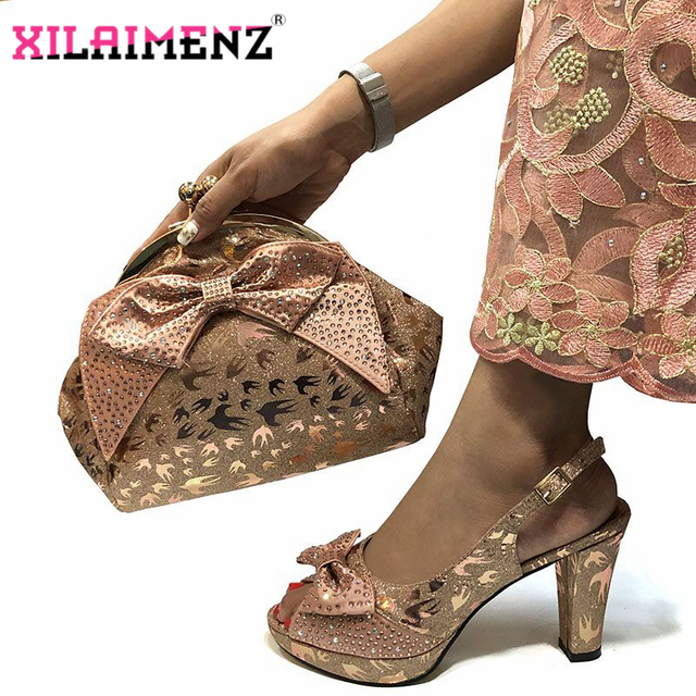 Special Design African Shoes With Matching Bags Set African Womens Party Shoes and Bag Sets Peach Color Women Sandals And Bag