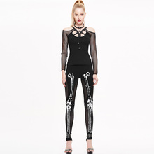 2016 Autumn NEW Punk Gothic Rock Legging Sexy Mesh Splice Printing Skeleton Women Slim Fit Leggings free shipping big size XXXL