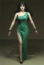 цены Custom Made 1/6 Scale Single Shoulder Split Skirt Dress for 12inch Phicen Tbleague JIAOUL Action Figure toy