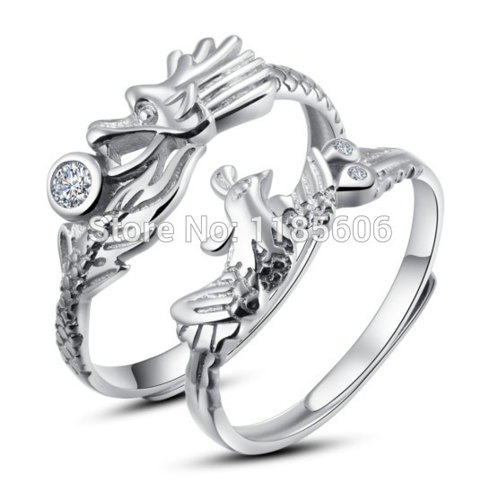 2014 new Chinese style dragon phoenix couple 925 sterling silver ring womens jewelry mens opening - CRYSTAL BEADS store