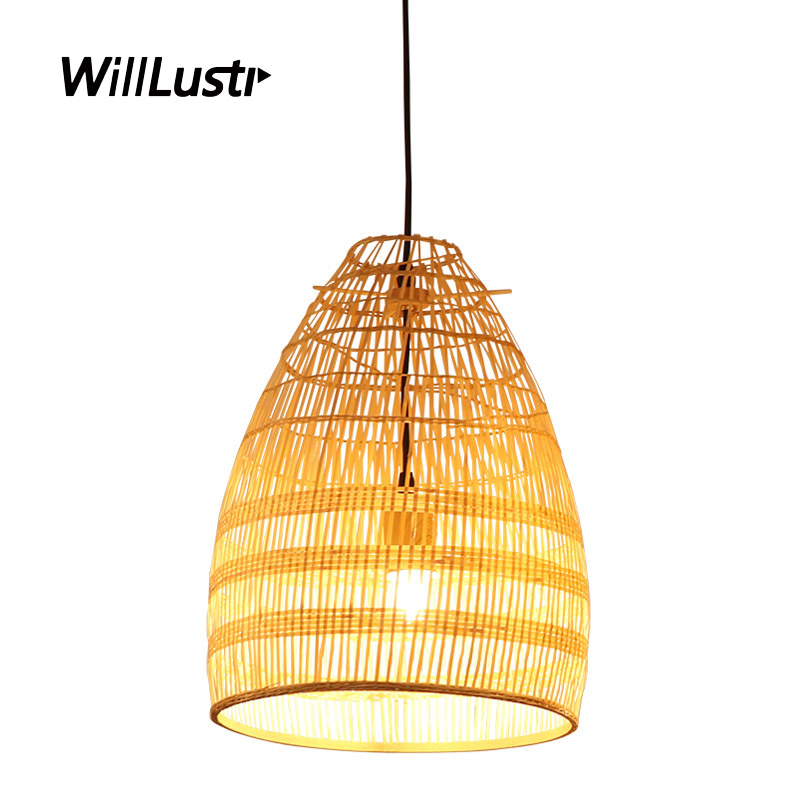 Hand Knitted Bamboo Pendant Lamp Hotel Bar Restaurant Cafe Living Room Bedroom Modern Minimalist Zen Suspension Hanging Lighting
