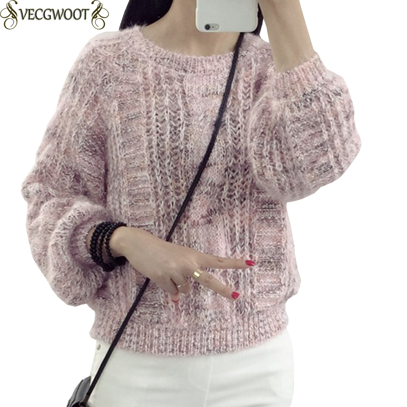 Competent Women Sweater 2019 New Autumn And Winter Knitted Leisure Round Neck Short Sweater Set Head Warm Long Sleeves Loose Women Ko334 Pullovers