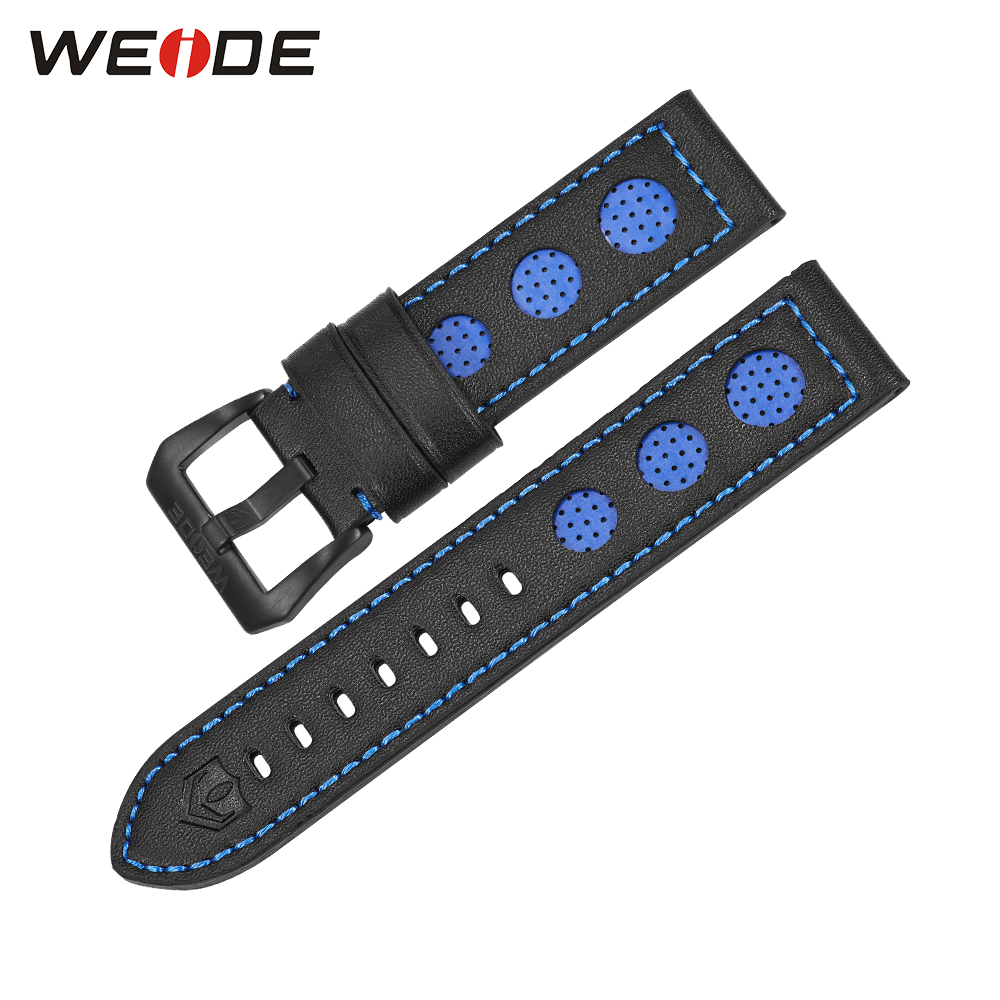 Brand WEIDE Casual Leather Watchband 22mm Blue Color Stainless Steel Buckle Men's Fashion Genuine Leather Watch Strap