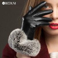 BOOUNI Genuine Leather Gloves Fashion Black Women Sheepskin Glove Wrist Rabbit Hair Thermal Winter Driving Gloves NW769