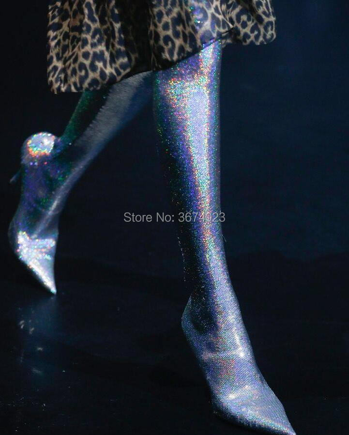 Overknee Herbst silber Short Short Heels Sparkle Nachtclub Stiefel silver Sexy Hohe High gold Runway Socken Oberschenkel Qianruiti Glitter Spitz Frauen Bottes Gold Winter OwfUqZ