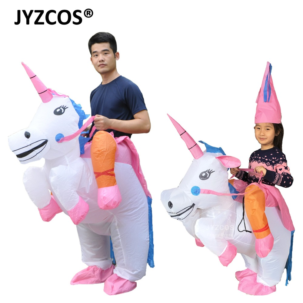JYZCOS Uppblåsbara Unicorn Kostymer för barn Vuxen Fancy Dress Ride Horse Suit Halloween Purim Carnival Party Boys Girls Outfit