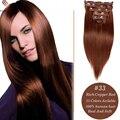 8A Grado #33 Clip en Extensiones de Cabello Humano de Calidad Superior brasileño de la virgen del pelo Clip Recto En Extensiones de Cabello Humano Soleado reina