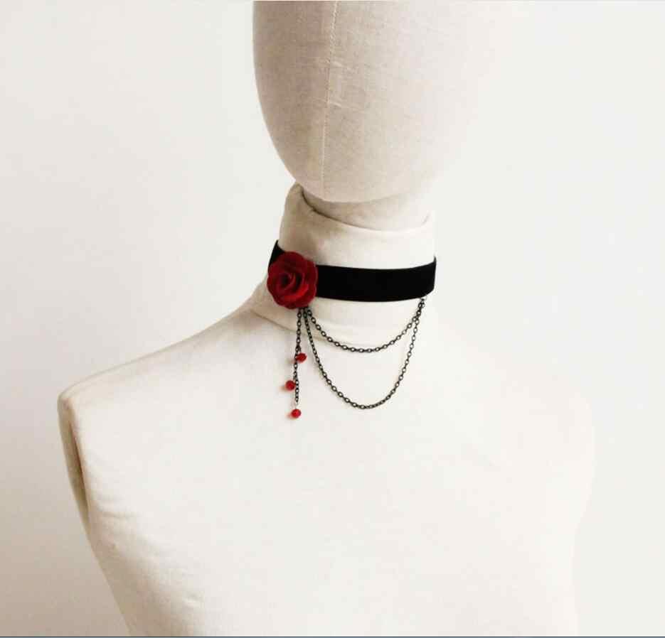 Moda feminina retro gótico preto vermelho flor colar de renda gargantilha colar, cabeça elegante de beaty colar para mulher c286