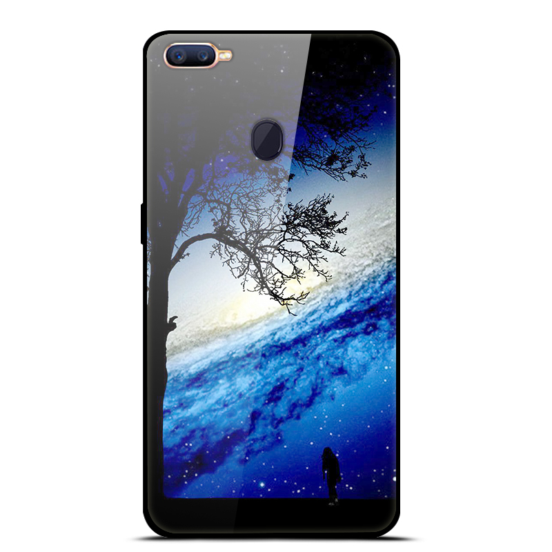 new style 1e2d8 3a7ab For OPPO F9 Case Oppof9 Tempered Glass Hard Back Cover For OPPO F9 Pro Case  Soft Bumper Fashion Star Fundas For OPPO F9 F 9 Capa