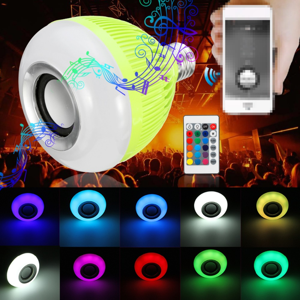 12W 16 Color Changing 28 LED Lamp Bulb E27 RGB Wireless Bluetooth Speaker Bulb Music Playing LED Light Bulb With Remote Control led rgb bulb lamp app remote control e27 speaker bluetooth 4 0 music led night light