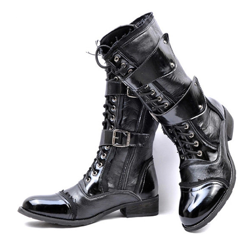 Mens Knight Boots 2019 Mid Leg Patent Leather Boots Long Military Boots For Man Waterproof Work Shoes Male Winter Shoes