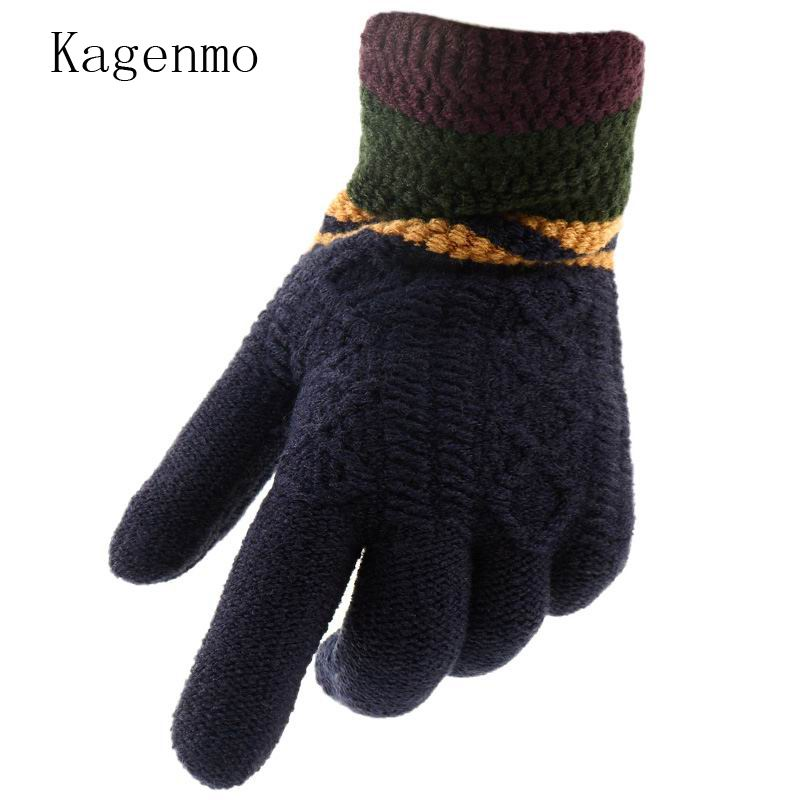 Skillful Knitting And Elegant Design Good Kagenmo Keep Warm Yarn Men Gloves Winter Men Finger Gloves Cold Winter Thick Wool Knit Riding Skiing Male Mitten To Be Renowned Both At Home And Abroad For Exquisite Workmanship Apparel Accessories