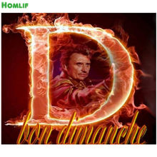 DIY diamant peinture Flamme JOHNNY HALLYDAY superestrella chanteur Diamant costura pleine ronde de bordado peinture point de croix(China)