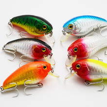 6color  55mm 11g Fishing Lures Wobbler Crank Hard Baits Artificial Baits Fishing Tackle with 2 Hooks