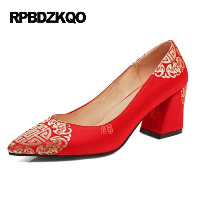 Block Size 4 34 Cheap Red High Heels Shoes Pointed Toe Women 3 Inch  Embroidery Pumps