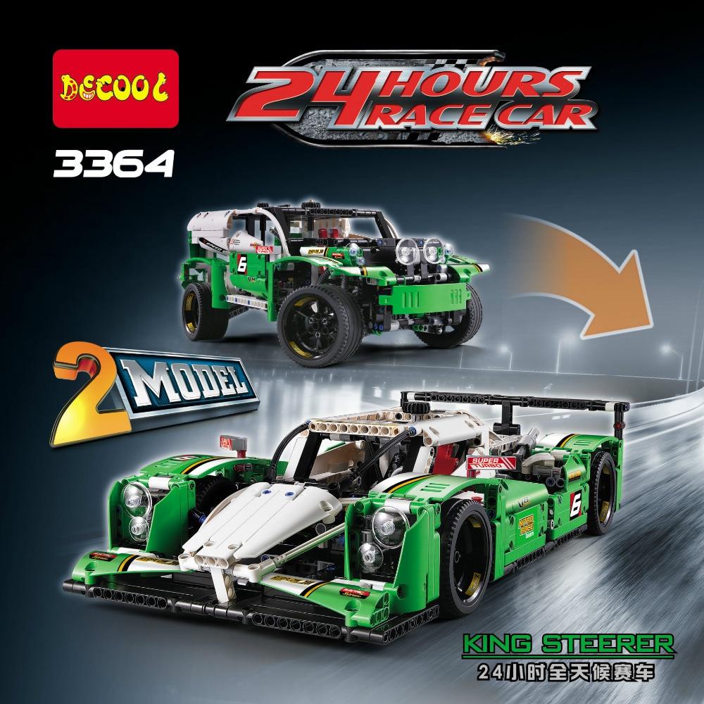 DECOOL Technic City 2-in-1 24 Hours Race Car Building Blocks Kits Bricks Sets Classic Model Kids Toys Marvel Compatible Legoe цена