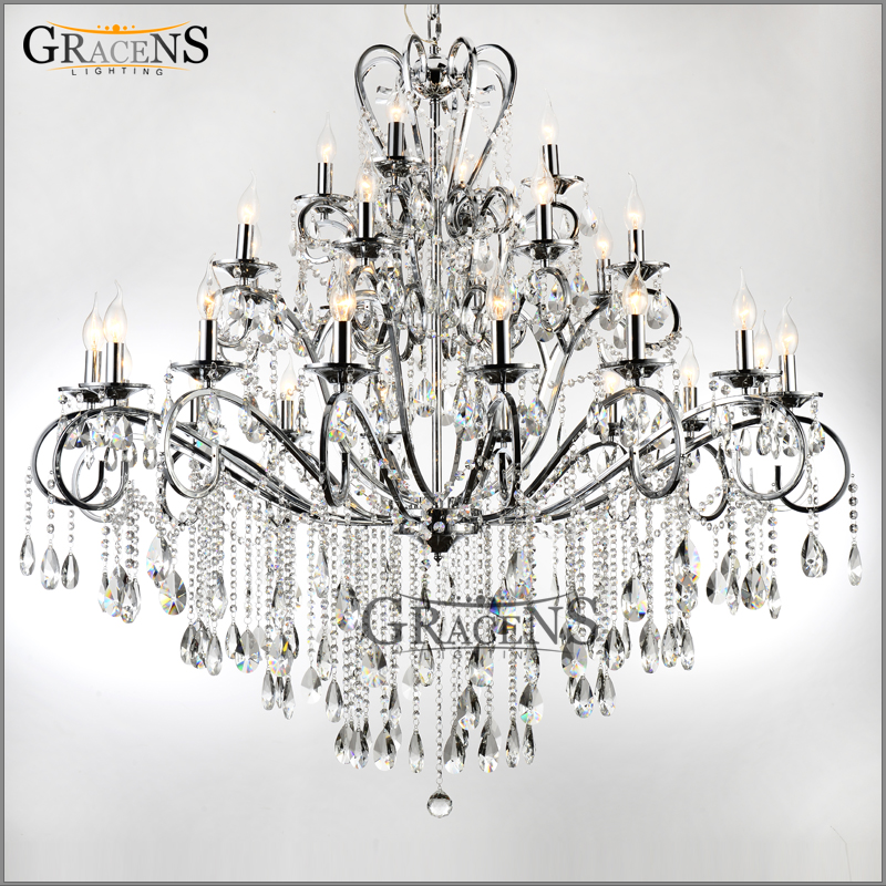 Large 28 arms wrought iron chandelier crystal light fixture chrome large 28 arms wrought iron chandelier crystal light fixture chrome lustre de sala crystal hanging lamp for living room hotel in chandeliers from lights aloadofball Gallery