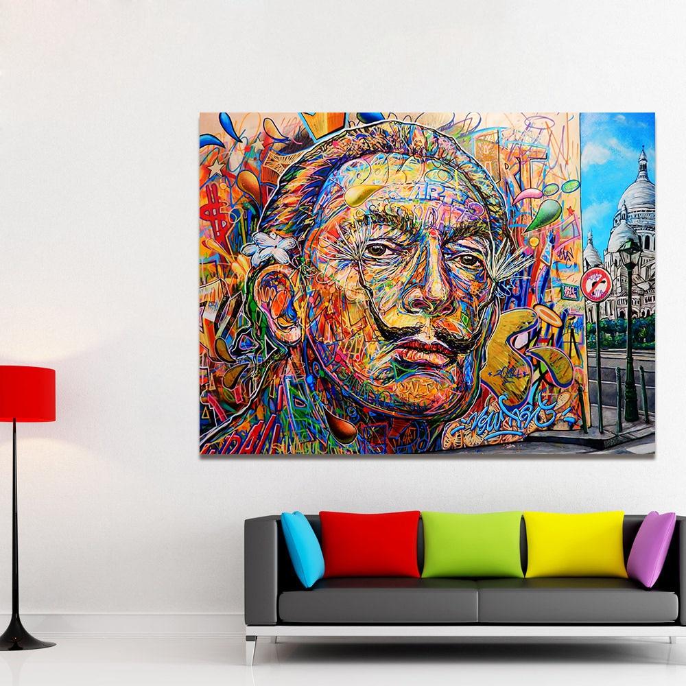 Graffiti art home decor - Hdartisan Wall Pictures For Living Room Street Canvas Art Home Decor Figure Painting Graffiti Dali No