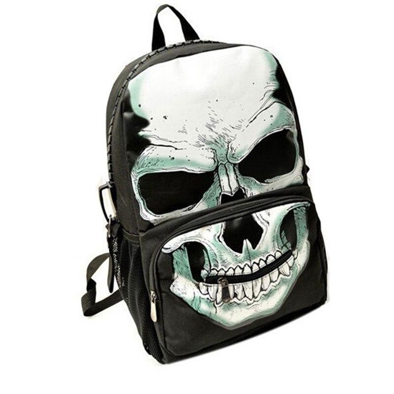 Nylon Funny Skull Printed Backpacks Brand Mochilas Mujer School Bags For Girls Backpacks For Teenager Men/Women Travel Bag APB36
