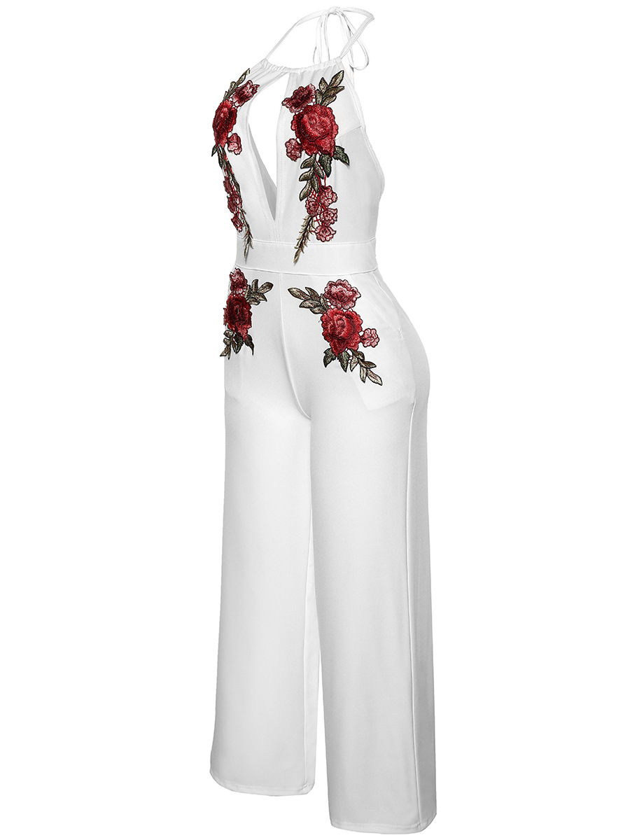 2017 Womens Sexy Deep V sleeveless White Rose Embroidery Backless Long Wide Leg Jumpsuits Rompers Playsuitb Bodysuit