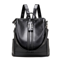 Fasion PU Leather Backpacks For Adolescent Girls Zipper Backpack Female Backpack To School Notebooks Laptop College