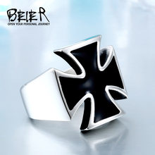 Fashion Unisex Black Sureface For Woman And Man Stainless Steel Gothic Punk Cross Finger Ring Gift Jewelry BR8-372(China)