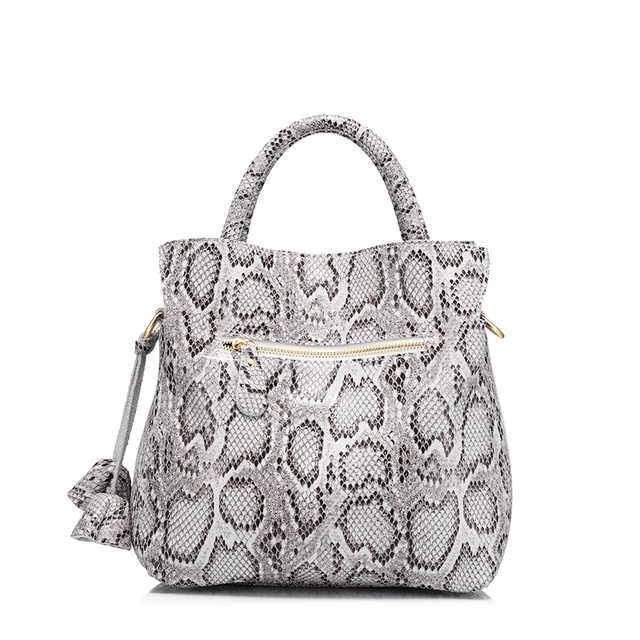 REALER brand new women handbag serpentine print genuine leather tote shoulder bag female fashion large capacity crossbody bags