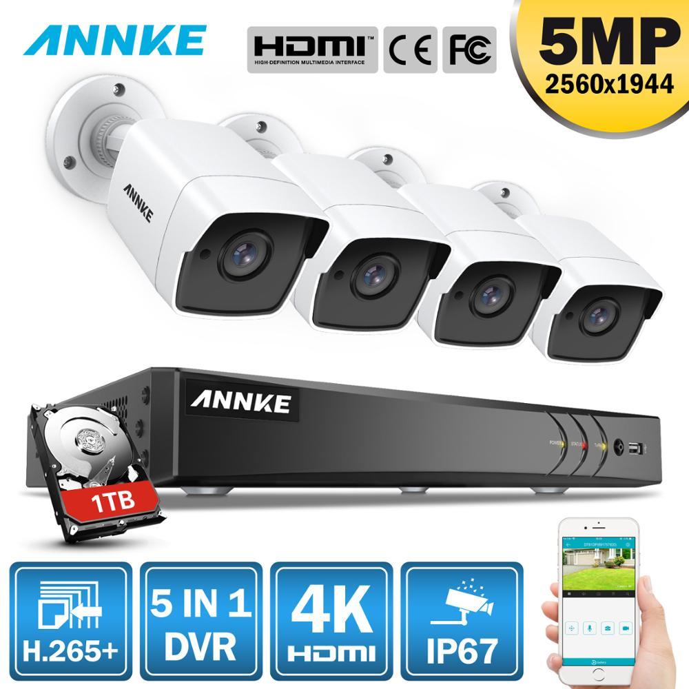 ANÃO H.265 + 5MP Ultra HD Sistema de Segurança DVR CCTV Weaterproof 4PCS IP67 8CH 5MP Ao Ar Livre Câmera De Vigilância Por Vídeo kit