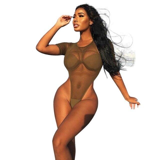 7b462b55a New 2017 Fashion Sexy Women Bodysuit Summer Army Green Perspective Net Yarn Plus  Size Short Sleeve Swimsuit Bikini A0270