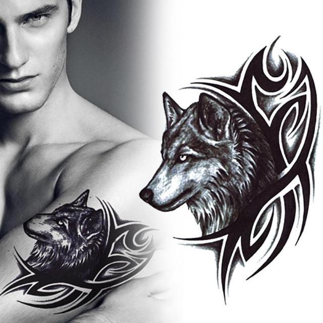 2 stucke wassertransfer wolf tattoos aufkleber wasserdicht temporare tatowierung manner frauen arm korper wolf art design
