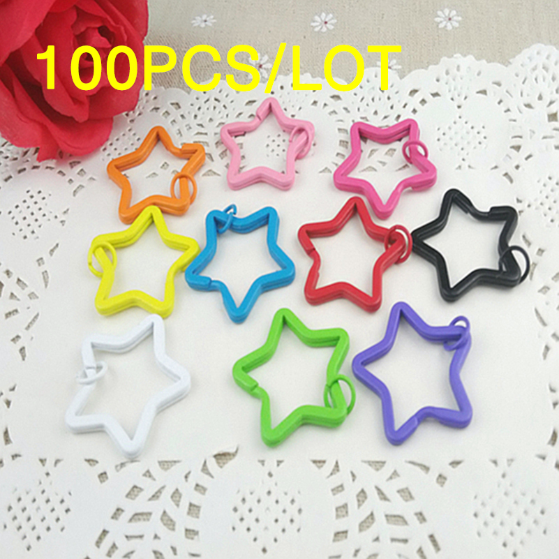 Tanduzi Wholesale 100PCS Kawaii Color Painted Key Ring Metal DIY Accessory Split Key Rings Star Shaped