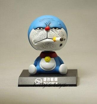 11 см качающаяся голова Doraemon игрушка, модель автомобиля украшения Аниме Куклы Фигурки ПВХ Превосходные подарки Бесплатная доставка KA0451