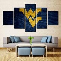 University Of West Virginia WV Logo Sport American Football Field Oil Painting Canvas Wall Art Home