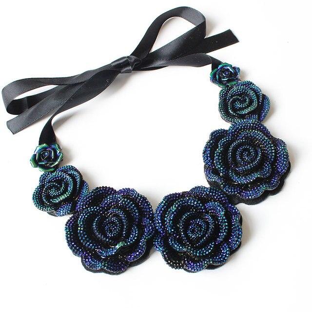 7821bb167 F&U Rose Necklace New Fashion Jewelry Big Resin Crystal Blue Flower  Necklaces & Pendants Statement Bib