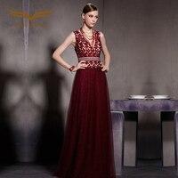 Coniefox 30608 цвет красного вина v образным вырезом Длинные платья Платья для специальных торжеств пол Длина Дизайнер вечернее платье