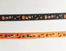 YOFAY 3/8(9mm) All over print Grosgrain Halloween Ribbon With Boo! Star Moon Hairpin Wedding Party Accessory DIY Material