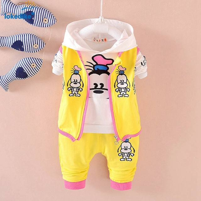 Autumn New Style Three Piece Suits Children Clothing Set Candy Color Toddler Babies Tracksuits Double Wind Proof Deck T1835
