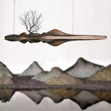 Деревянный подвесной светильник, Китайский Японский нордический креативный ретро-светильник для столовой, кабинета, кухонного острова, деревянная лампа