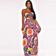 2019 Summer Backless Hole Tie Dye Print Vintage Maxi Dress Women Strapless Cut Out Cascading Ruffle Party Dress stylish strapless sleeveless flower print women s maxi dress