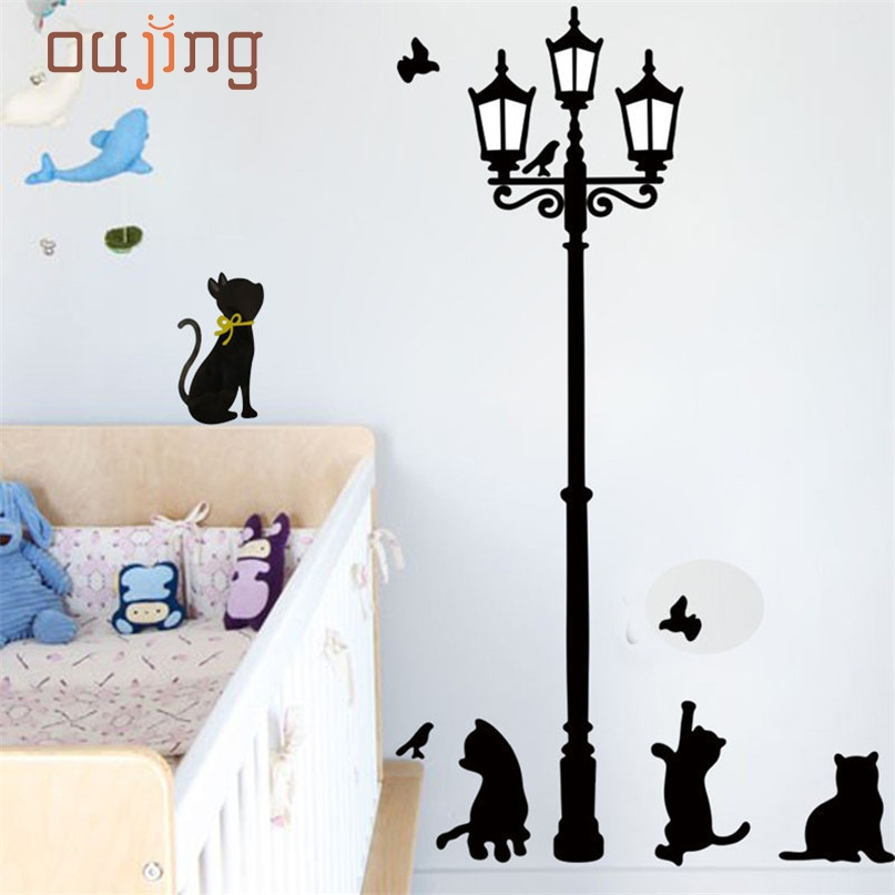 Home Wider AWOO Hot Selling Cats Street Lamp Lights Stickers Wall Decal Removable Art Vinyl Decor Drop Shipping Feb15