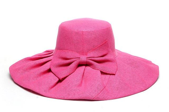 d1ee322c364b9 simple summer women bow paper straw sun hat wide brim sunhat Kentucky Derby  hats Wedding Church Party sunbonnet beach chapeau