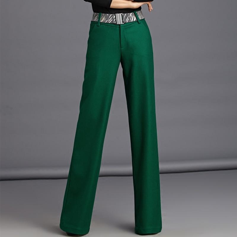 Fashion Autumn Winter Women S Wool Warm Trousers Black